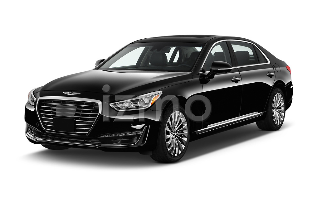 2019 Genesis G90 Ultimate 4 Door Sedan angular front stock photos of front three quarter view