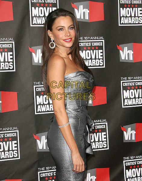 SOFIA VERGARA .at The16th Annual Critics' Choice Movie Awards held at The Hollywood Palladium in Hollywood, California, USA, January 14th, 2011..half length strapless grey gray silver dress peplum ruffle side .CAP/RKE/DVS.©DVS/RockinExposures/Capital Pictures.