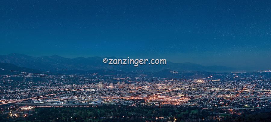 Burbank,Glendale, Pasadena, San Gabriel Mountains, Cityscape, Night, Dusk, lit, lights on, beautiful, Calif. California