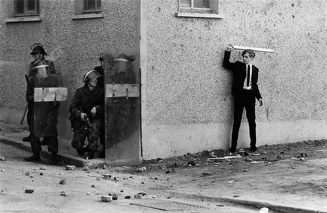 Catholic youth taunting British soldiers in the Bogside, Londonderry, Northern Ireland, 1971