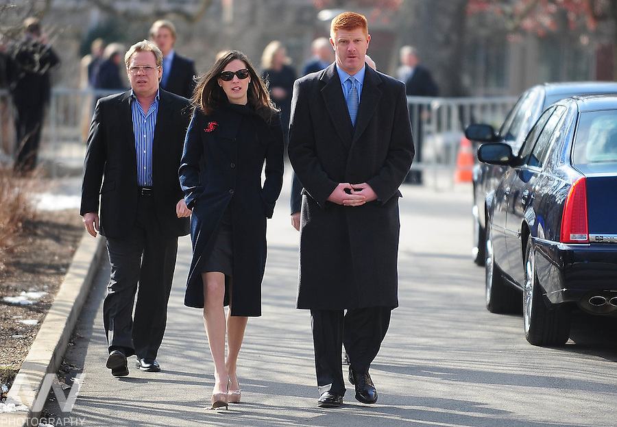 Jan 25, 2012; State College, PA, USA; Former Penn State Nittany Lions assistant coach Mike McQueary and wife Barbie McQueary arrive at the Pasquerilla Spritual Center prior to the funeral of of former Penn State Nittany Lions head coach Joe Paterno. Mandatory Credit: Andrew Weber-US PRESSWIRE
