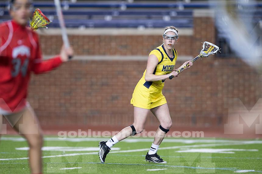 The University of Michigan women's lacrosse team falls to Ohio State, 18-3, at Michigan Stadium in Ann Arbor, Mich. on April 2, 2014.