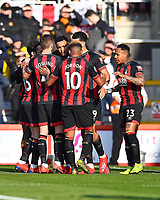 Joshua King of AFC Bournemouth middle is congratulated after scoring the first goal during AFC Bournemouth vs Wolverhampton Wanderers, Premier League Football at the Vitality Stadium on 23rd February 2019