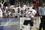 04/30/11--Winterhawks' Sven Bartschi high-fives teammates after scoring a goal that was assisted by Joe Morrow against  Spokane in Game 5 of the Western Conference Championship at the Rose Garden...Photo by Jaime Valdez.......................................