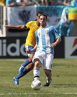Argentina forward  Gonzalo Higuain (9) clears the ball. In an international friendly (Clash of Titans), Argentina defeated Brazil, 4-3, at MetLife Stadium on June 9, 2012.