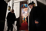 Christmas Eve Vigil Service, St. Sava Serbian Orthodox Church, Jackson, Calif...Fr. Deacon Triva and his mother at the entrance to the church after the vigil service.