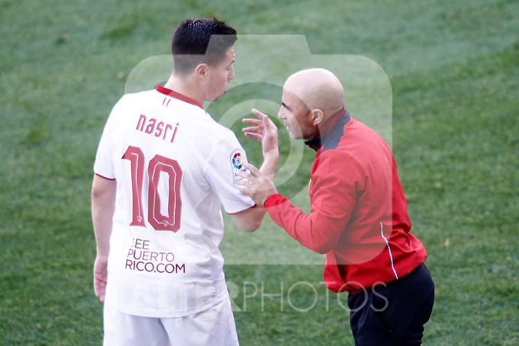 Sevilla FC's coach Jorge Sampaoli with Samir Nasri during La Liga match. March 19,2017. (ALTERPHOTOS/Acero)