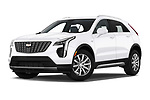 Stock pictures of low aggressive front three quarter view of a 2020 Cadillac XT4 Premium Luxury 5 Door SUV