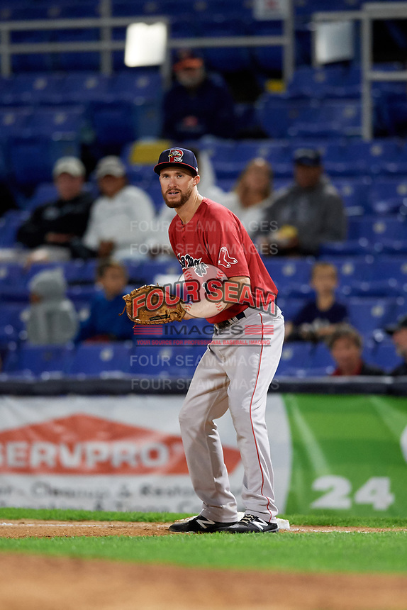 Portland Sea Dogs first baseman Jantzen Witte (11) during a game against the Binghamton Rumble Ponies on August 31, 2018 at NYSEG Stadium in Binghamton, New York.  Portland defeated Binghamton 4-1.  (Mike Janes/Four Seam Images)