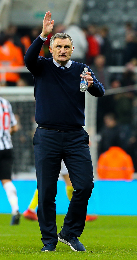 Blackburn Rovers manager Tony Mowbray applauds the fans after the match<br /> <br /> Photographer Alex Dodd/CameraSport<br /> <br /> Emirates FA Cup Third Round - Newcastle United v Blackburn Rovers - Saturday 5th January 2019 - St James' Park - Newcastle<br />  <br /> World Copyright © 2019 CameraSport. All rights reserved. 43 Linden Ave. Countesthorpe. Leicester. England. LE8 5PG - Tel: +44 (0) 116 277 4147 - admin@camerasport.com - www.camerasport.com