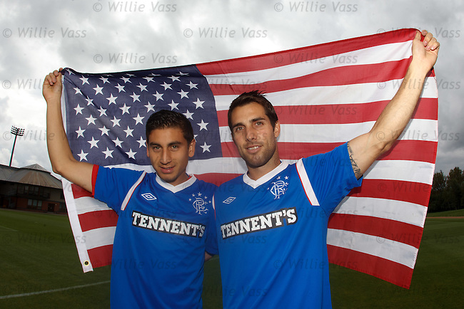 USA stars Alejandro Bedoya and Carlos Bocanegra at Murray Park before training