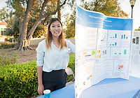 Erin Kim was an intern at City of Hope. Career Services hosts the Summer Experience Expo, where Occidental College student interns from the InternLA program and INT Internship course shared information about the organizations they worked for over the summer. Sept. 7, 2017 at Thorne Hall patio. Employers were also in attendance.<br /> (Photo by Marc Campos, Occidental College Photographer)