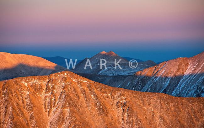 Rocky Mountains at sunset between Gunnison and Buena Vista, Colorado.  Oct 6, 2013
