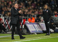 23rd November 2019; Liberty Stadium, Swansea, Glamorgan, Wales; English Football League Championship, Swansea City versus Millwall; Steve Cooper manager of Swansea City applauds his players during the match - Strictly Editorial Use Only. No use with unauthorized audio, video, data, fixture lists, club/league logos or 'live' services. Online in-match use limited to 120 images, no video emulation. No use in betting, games or single club/league/player publications