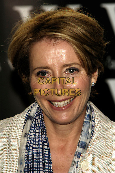 "EMMA THOMPSON .Book singing for ""Nanny McPhee And The Big Bang"", Waterstone's Picadilly, London, England..March 6th 2010.headshot portrait grey gray blue scarf checked check beige cream smiling .CAP/CJ.©Chris Joseph/Capital Pictures."