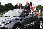03.07.2019,  GER;  Idee 150. Deutsches Derby 2019, im Bild Reiter Eduardo Pedroza faehrt mit dem Auto eine Ehrenrunde Foto © nordphoto / Witke *** Local Caption ***