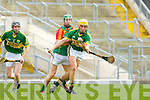 John Griffin Kerry and Daryl Roberts Carlow in action during their Allianz Hurling league clash in Fitzgerald Stadium on Sunday