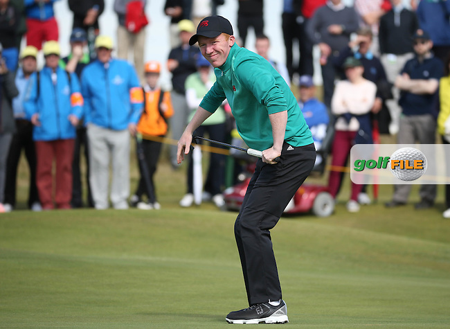 Missing it just on the 13th is Gavin Moynihan (IRL)  during Sunday morning Foursome matches of The Walker Cup 2015 played at Royal Lytham and St Anne's, Lytham St Anne's, Lancashire, England. 13/09/2015. Picture: Golffile | David Lloyd<br /> <br /> All photos usage must carry mandatory copyright credit (&copy; Golffile | David Lloyd)