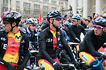 Alejandro Valverde and Team Spain lined up for the start of the Men Elite Road Race of the UCI World Championships 2019 running 280km from Leeds to Harrogate, England. 29th September 2019.<br /> Picture: Colin Flockton | Cyclefile<br /> <br /> All photos usage must carry mandatory copyright credit (© Cyclefile | Colin Flockton)