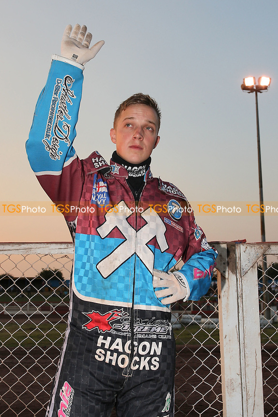 Rob Mear of Lakeside waves to the crowd - Lakeside Hammers vs Birmingham Brummies - Sky Sports Elite League Speedway at Arena Essex Raceway, Purfleet - 10/08/12 - MANDATORY CREDIT: Gavin Ellis/TGSPHOTO - Self billing applies where appropriate - 0845 094 6026 - contact@tgsphoto.co.uk - NO UNPAID USE.