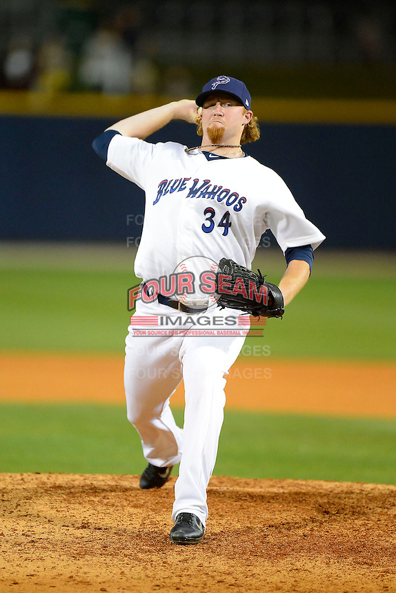 Pensacola Blue Wahoos pitcher Curtis Partch #34 during a game against the Jacksonville Suns on April 15, 2013 at Pensacola Bayfront Stadium in Pensacola, Florida.  Jacksonville defeated Pensacola 1-0 in 11 innings.  (Mike Janes/Four Seam Images)