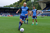 Max Muller of Wycombe Wanderers warming up before the Carabao Cup match between Wycombe Wanderers and Fulham at Adams Park, High Wycombe, England on 8 August 2017. Photo by Alan  Stanford / PRiME Media Images.