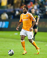 CARSON, CA - November 20, 2011: Houston Dynamo defender Jermaine Taylor (4) during the MLS Cup match between LA Galaxy and Houston Dynamo at the Home Depot Center in Carson, California. Final score LA Galaxy 1, Houston Dynamo 0.