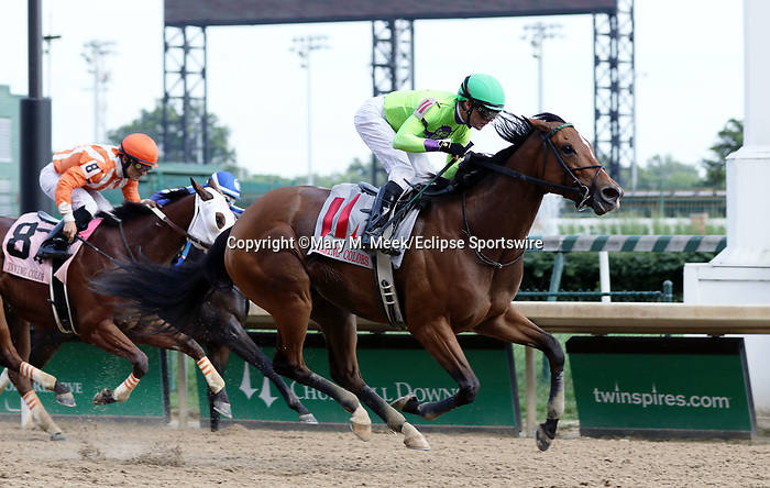 May 25, 2019 : Honey Bunny (#11, Tyler Baze) wins the 16th running of the G3 Winning Colors Stakes at Churchill Downs, Louisville, Kentucky. Owner Hooties Racing LLC (Mark Moore), WSS Racing LLC (William Simon), and 4G Racing LLC (Brent Gasaway). Trainer John A. Ortiz. By Tapizar x Sennockian Storm (Storm Cat).  Mary M. Meek/ESW/CSM
