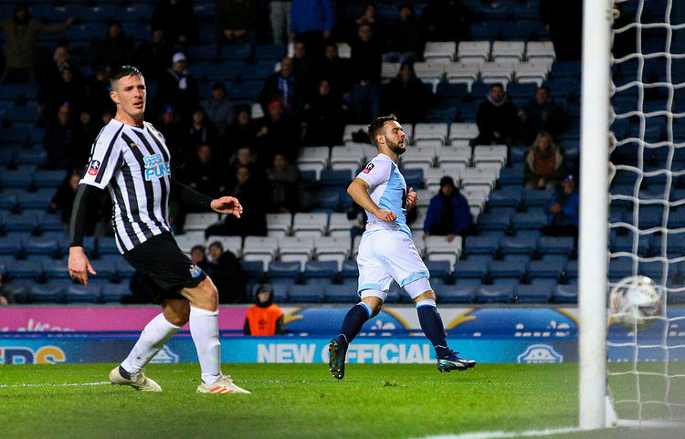 Blackburn Rovers' Adam Armstrong scores his side's first goal  <br /> <br /> Photographer Alex Dodd/CameraSport<br /> <br /> Emirates FA Cup Third Round Replay - Blackburn Rovers v Newcastle United - Tuesday 15th January 2019 - Ewood Park - Blackburn<br />  <br /> World Copyright &copy; 2019 CameraSport. All rights reserved. 43 Linden Ave. Countesthorpe. Leicester. England. LE8 5PG - Tel: +44 (0) 116 277 4147 - admin@camerasport.com - www.camerasport.com