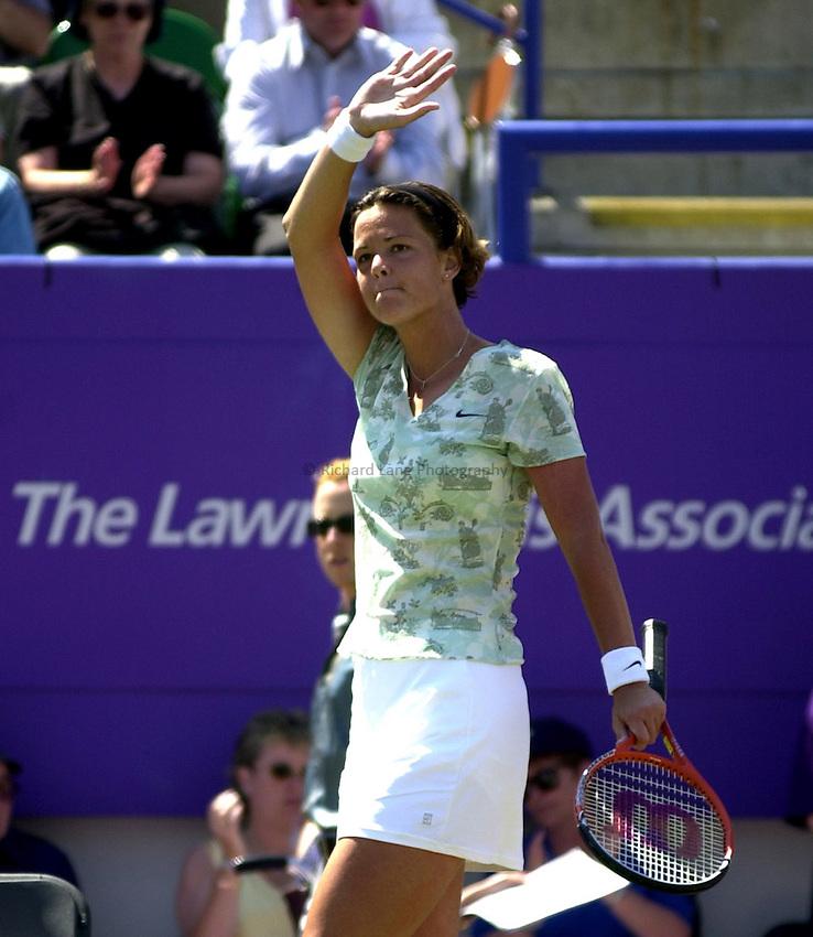 Photo. Rene Solari..22/6/01  .Eastbourne Day 5 (Semi-Finals).  Lindsay Davenport celebrates winning her match against Chanda Rubins...