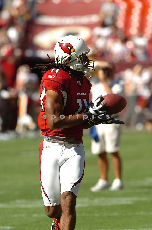 LARRY FITZGERALD, of the Arizona Cardinals in action during the Cardinals game against the Washington Redskins on October 21, 2007 in Landover, Maryland...Redskins win 21-19..SportPics