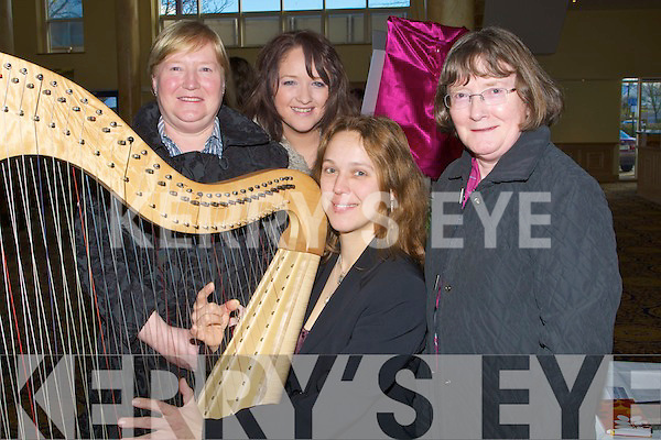 HARP: Listening to the music from the harp played by Reidun Schlesinger at the Radio Kerry Wedding Fayre in the Brandon Hotel, Conference Centre on Sunday l-r: Ursu;la Griffin, Jackie O'Mahony, Rose Bourke and Reidun Schlesinger (harpist).................................. ....