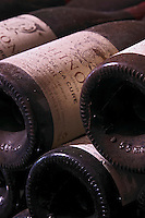 Bottles aging in the cellar. Cuvee de la Cure 2001. Domaine Charles Joguet, Clos de la Dioterie, Chinon, Loire, France