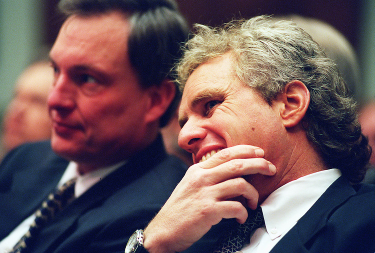 3/11/98.BANKRUPTCY LEGISLATION HEARING--Witnesses Richard H. Baker,R-La., and Joseph P. Kennedy,D-Mass., during the Commercial and Adminiatrative Law Subcommittee of House Judiciary Committees hearing on pending bankruptcy legislation..CONGRESSIONAL QUARTERLY PHOTO BY DOUGLAS GRAHAM