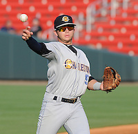 Infielder Dante Bichette, Jr. (19) of the Charleston RiverDogs, a New York Yankees affiliate, before a game against the Greenville Drive on May 31, 2012, at Fluor Field at the West End in Greenville, South Carolina. Charleston won, 13-2. Bichette is the Yankees' No. 6 prospect, according to Baseball America and was a first-round draft pick in 2011. (Tom Priddy/Four Seam Images)