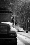 February 11th 2006. New York, New York..Snow storm in the Meatpacking district on a Saturday night..