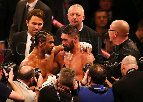 March 4th 2017, O2 Arena, London England; Heavyweight Boxing David Haye versus Tony Bellew; David Haye and Tony Bellew embrace after the The Heavyweight contest