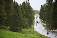 breakaway group descending the Passo San Pellegrino (1918m) fast (in the rain)<br /> <br /> 2014 Giro d'Italia<br /> stage 18: Belluno - Rifugio Panarotta (Valsugana), 171km