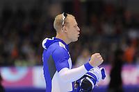 SCHAATSEN: HEERENVEEN: IJsstadion Thialf, 17-11-2012, Essent ISU World Cup, Season 2012-2013, Men 1st 500 meter Division A, winner Pekka Koskela (FIN), ©foto Martin de Jong