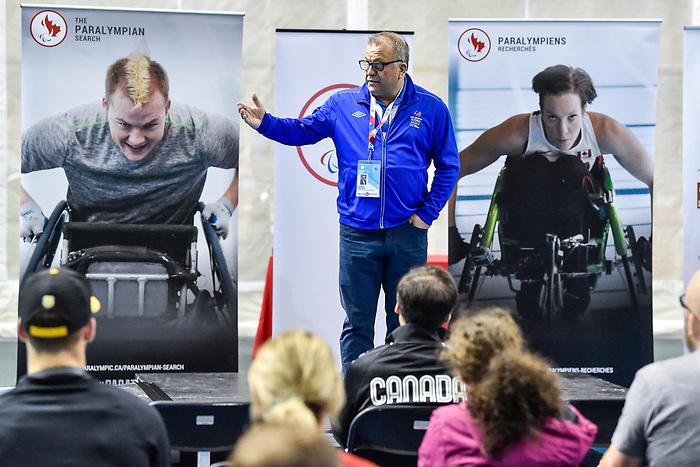 MONTREAL, QC - APRIL 29:  Maxime Gagnon addresses the guests during the 2017 Montreal Paralympian Search at Complexe sportif Claude-Robillard. Photo: Minas Panagiotakis/Canadian Paralympic Committee