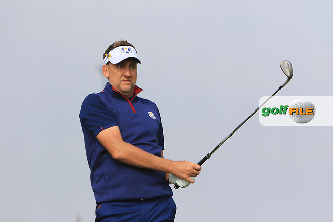 Ian Poulter (Team Europe) on the 3rd during the Friday Foursomes at the Ryder Cup, Le Golf National, Ile-de-France, France. 28/09/2018.<br /> Picture Thos Caffrey / Golffile.ie<br /> <br /> All photo usage must carry mandatory copyright credit (© Golffile | Thos Caffrey)