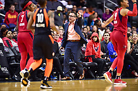 Washington, DC - June 3, 2018: Connecticut Sun head coach Curt Miller argues a call during game between the Washington Mystics and Connecticut Sun at the Capital One Arena in Washington, DC. (Photo by Phil Peters/Media Images International)