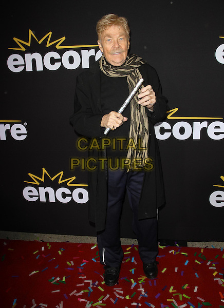 "Rip Taylor.Premiere Of Encore's ""Method To The Madness Of Jerry Lewis"" Held At The Paramount Studios lot, Los Angeles, California, USA..December 7th, 2011.full length black suit blue trousers beige print scarf stick   .CAP/ADM/KB.©Kevan Brooks/AdMedia/Capital Pictures."