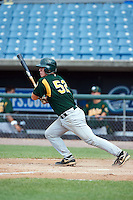 Benton Breazeale #52 of Pigeon Forge High School in Louisville, Tennessee playing for the Oakland Athletics scout team during the East Coast Pro Showcase at Alliance Bank Stadium on August 3, 2012 in Syracuse, New York.  (Mike Janes/Four Seam Images)