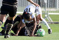 24 May 2009: Marta of the Los Angeles Sol fights for a loose ball against Carrie Dew of the FC Gold Pride during the game at Buck Shaw Stadium in Santa Clara, California.  Los Angeles Sol defeated FC Gold Pride, 2-0.
