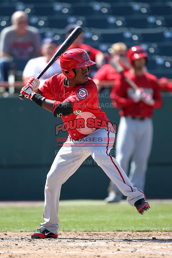 Harrisburg Senators outfielder Eury Perez #3 during a game against the Bowie BaySox at Prince George's Stadium on April 8, 2012 in Bowie, Maryland.  Harrisburg defeated Bowie 5-2.  (Mike Janes/Four Seam Images)