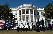 March 23, 2017 - Washington, D.C., United States: President Donald Trump welcomes members of the American Trucking Associations on at the South Portico of the White House prior to their listening session on health care.  <br /> Credit: Molly Reilly / Pool via CNP