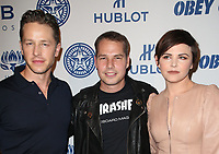 LOS ANGELES, CA - NOVEMBER 7: Josh Dallas, Shepard Fairey, Ginnifer Goodwin, at Photo Op For Hulu's 'Obey Giant at the The Theatre at Ace Hotel in Los Angeles, California on November 7, 2017. <br /> CAP/MPI/FS<br /> &copy;FS/MPI/Capital Pictures