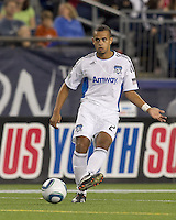 San Jose Earthquakes defender Jason Hernandez (21) passes the ball. In a Major League Soccer (MLS) match, the San Jose Earthquakes defeated the New England Revolution, 2-1, at Gillette Stadium on October 8, 2011.