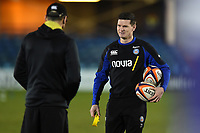 Freddie Burns of Bath Rugby looks on during the pre-match warm-up. Premiership Rugby Cup match, between Bath Rugby and Gloucester Rugby on February 3, 2019 at the Recreation Ground in Bath, England. Photo by: Patrick Khachfe / Onside Images